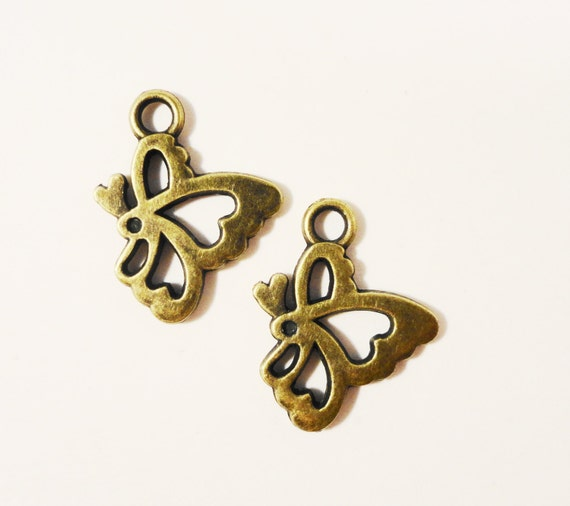 Bronze Butterfly Charms 20x15mm Vintage Tone Antique Brass Metal Flying Insect Double Sided Charm Pendant Jewelry Making Findings 10pcs