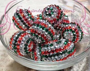 22mm Red, Silver and Emerald Green Christmas Stripe Rhinestone Beads Qty 6,  Bubblegum Beads, Chunky Beads, Rhinestone Beads, Pave Bead