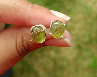 Peridot Earrings, Peridot Earrings Sterling Silver, Peridot Stud Earrings, Sterling Silver Earrings, August Birthstone, Peridot Jewelry