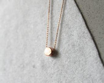 Mini Round Circle Pendant Rose Gold Necklace