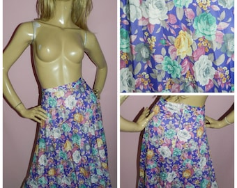 Vintage 70s Multicoloured ROSE FLORAL Print ACCORDION Pleated skirt 16-18 L 1970s