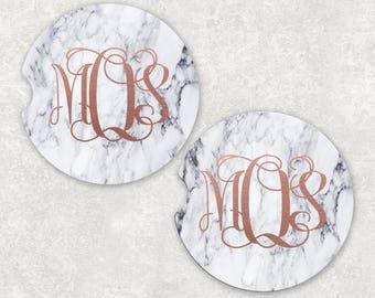 Custom Rose Gold Monogram Marble Sandstone Auto Cup Holder Coasters (set of2)  Personalized Custom Car Coasters (set of2)Gift Ideas