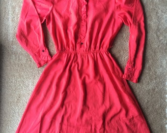 Vintage City Shirts Long Sleeve Light Weight Red Dress (80's)