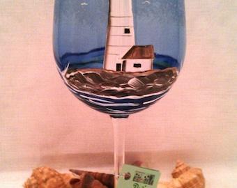 Lighthouse Blue Wine Glass