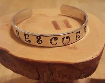 RESCUER hand stamped aluminum cuff bracelet ... great way to honor the animal rescuer you know and love