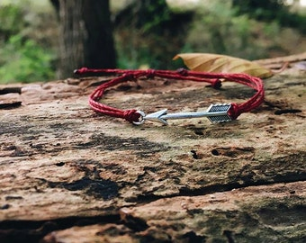 Arrow Bracelet / Silver Arrow Bracelet / Red Bracelet / Waterproof Bracelet / Friendship / Adjustable / Surf Bracelet / Gift / Birthday