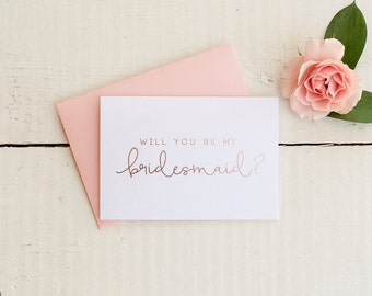 Rose Gold Foil Will You Be My Bridesmaid card bridal party card foil stamped notecard wedding card proposal gift bridesmaid invitation box