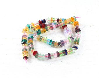 20 multicolored faceted abacus glass beads approximately 6mm x 3mm LBP00727