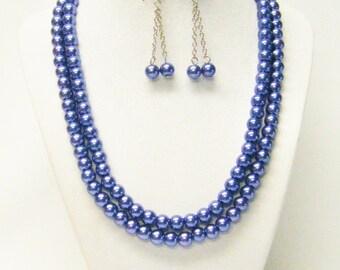2 Stand Bluish Purple Glass Pearl Necklace/Bracelet/Earrings Set