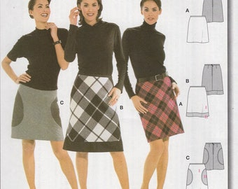 FREE US SHIP Burda 8281 Mod Skirt Circle Inset Great for Plaids Uncut Sewing Pattern plus size Size 8 10 12 14 16 18 20 Waist 24-34
