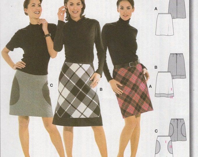 FREE US SHIP Burda 8281 Mod Skirt Circle Inset Great for Plaids Uncut Sewing Pattern plus size Size 8 10 12 14 16 18 20 Waist 24-34