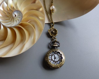 Antique Bronze Floral Pocket Watch Locket Pendant with Cultured Pearl Necklace - Watch Necklace
