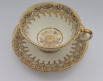 Beautiful Gold Trim Bone China Teacup and Saucer, Vintage Gold and White China Teacup, Tea Party, High Tea, Gold Filigree, Collectible