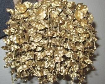 Vintage BALU Gold Waterfall Floral Barrette - Stunning 5-in by 5-in Flowing Hair Ornament Accessory for Wedding Prom Updo - Made In France