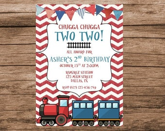 Train Invitation, Train Invitations, Chugga Chugga Two Two, Train Birthday, Digital Invitation