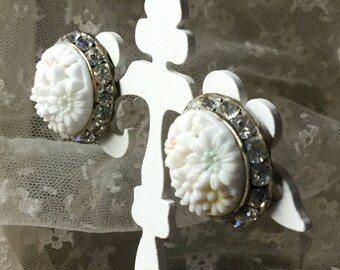 Bridal Wedding Day Carved Celluloid Rhinestone Earrings Clip On Unsigned 1950's 1960's Channel Set Rhinestones Feminine Floral Inspired