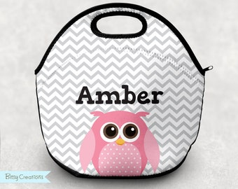 Pink Owl Lunch Tote - Personalized Lunch Bag for Kids - Gray and White Chevron Stripes - Washable Soft Neoprene