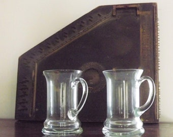 Clear Glass Stein, Big Mug, Set of 2 Mugs, Fluted Bar Steins, Tall Narrow Glass Mugs, Set of 2 Drinking Glasses with Handles