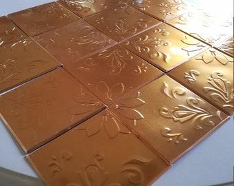 Set of 16 Metal Embossed Tiles for Backsplash