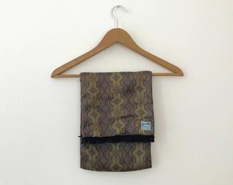 Vintage Reversible Silk and Wool Scarf  |  Vintage Silk and Wool Men's Scarf  |  Vintage Wool Scarf with Silk