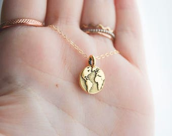 mother earth necklace | wanderlust charm necklace | traveler's necklace | graduation gift | travel | not all who wander are lost | globe