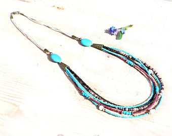 Necklace ethnic MULTISTRAND turquoise and black beads. Handmade necklace turquoise beads