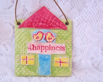 Home of Happiness Ceramic Tile Wall Art Gift for New Home Hand Painted Home and Garden Art