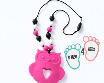 Teething and nursing ring Fuchsia silicone OWL necklace