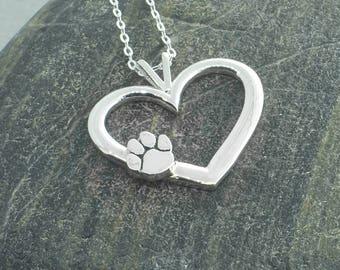 Paw Print Necklace, Paw Print Pendant, Heart Pendant, Paw Print Jewelry, Pet Jewelry, Dog Lover, Paw Print Charm, Sterling Silver Paw Print