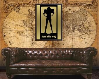 Lady Gaga, Born this way, Wall art, Lady Gaga poster, Lady Gaga inspired, fan art, Metal stencil, metal print, brass, copper, pop art
