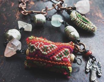 Boho bracelet set | artisan copper chain, Hmong textile, quartz crystal, boho bracelet, stacking  bracelet, gypsy bracelet
