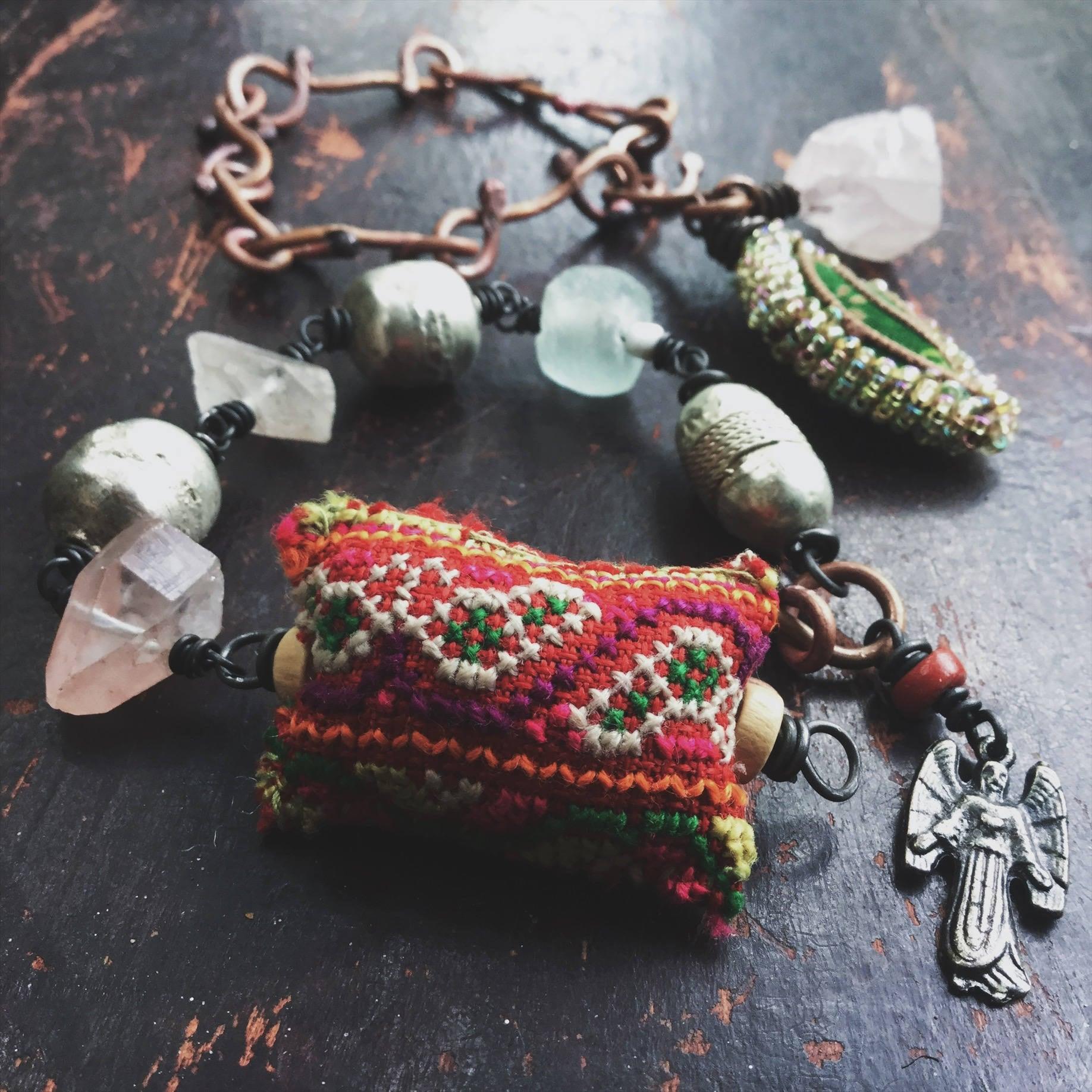 Boho bracelet set with artisan handmade chain, Hmong textile