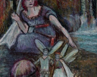 original art  aceo drawing fairy tale princess woman woodland fairy gnomes
