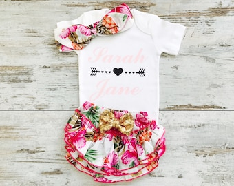 Newborn girl gift etsy baby girl coming home outfit newborn girl gift personalized baby girl outfit baby negle Choice Image
