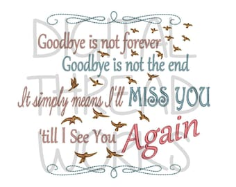 Sympathy Loss of Loved One Memory Embroidery Design for 4x4 5x7 and 6x10 inch hoops. Instant Download Digital files. ITEM# SLOLOM