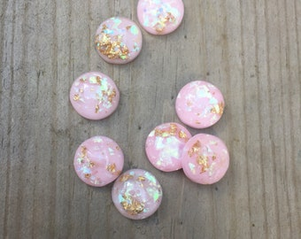 Pink mermaid gold foil 12mm earring cabochons - 8 pieces