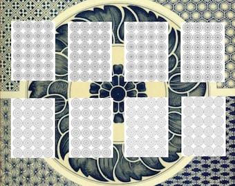 25 Mandala Adult Coloring Book Patterns 4 Rows 8.5X11 Printable Instant Download PDF