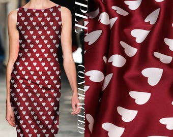Wine Red 100% Stretch Silk Satin Fabric With White Hearts Print By the Yard