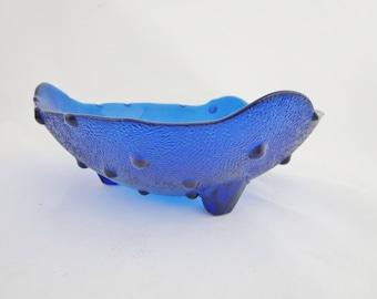Vintage Cobalt Blue Bowl -  Footed Bowl With Raised Dots - Cobalt Blue Hobnail Fenton Glass Console, Fruit or Centerpiece  Bowl