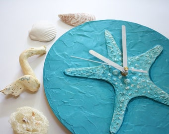 Starfish Clock Beach house Wall clock Turquoise  blue unique clock, turquoise home decor, blue modern office decor, hand painted