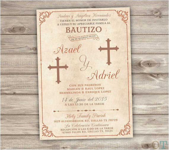 Siblings spanish printable baptism invitations brothers stopboris Gallery