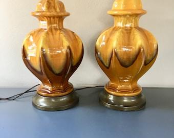 vintage ceramic drip glaze table lamp pair orange harvest gold yellow brown earthy retro