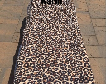 Large Beach Towel - Cheetah Print with Hot Pink borders - Monogrammed - Personalized Beach Towel