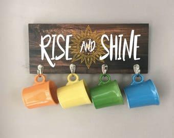 RISE AND SHINE Coffee Mug holder wall rack