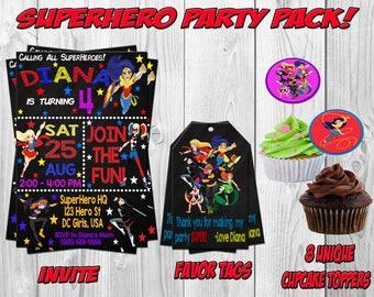 DC SuperHero Girls Birthday Party Invitation, Invite, Wonder Woman, Supergirl, Batgirl, Harley Quinn, Printable
