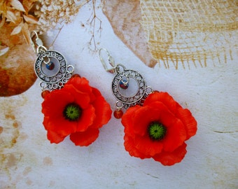 Red earrings Poppy earrings  Poppy jewelry  Poppy flower Flower earrings Red jewelry Summer earrings Jewelry red Handmade earrings
