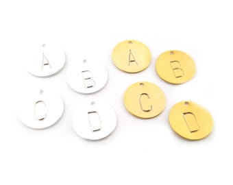 Add a Hand Stamped Silver or Gold Initial Charm / Block Font - UPPERCASE / Alphabet Initial Disc - Initial Disc