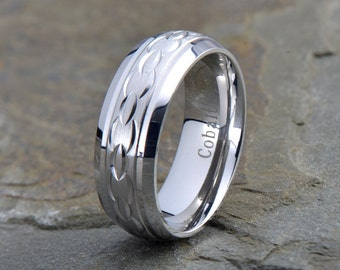 Cobalt Wedding Band, Mens Wedding Band, Domed Wedding Band, Mens Ring, Custom Made, Rings, Bands, Beveled, 8mm, Handmade, Anniversary