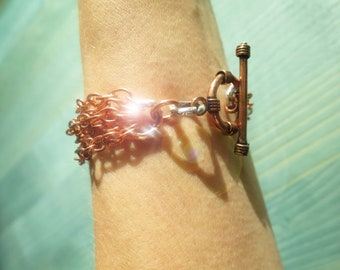 Copper multi-strand Chain Bracelet with Hammered Sterling Silver and Copper Toggle ~ GenVie Designs