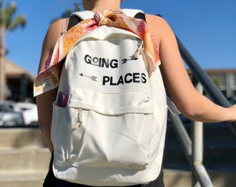 Going Places / White Canvas Backpack with Black Vinyl Lettering